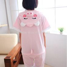 Summer Cute Pink pig sleepwear Pajamas Adult Onesies Halloween Carnival Japanese Cartoon Anime Cosplay Costume Robe Hot Sale