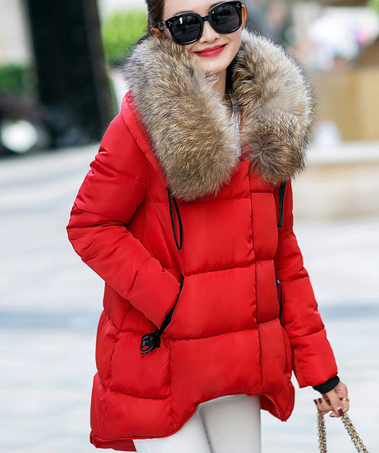 2016 Women's Jacket Winter Fur Hood  Down Cotton Parka Coat Ladies Casual Clothing Hot Sale