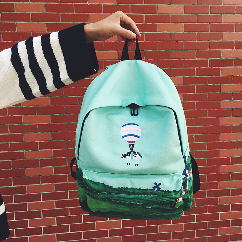 animal balão bordado mochila paisagem Color : 30*18*38 CM