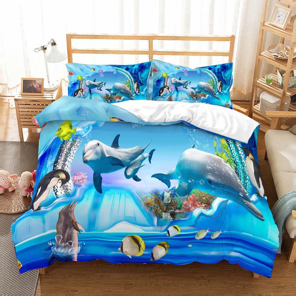 3D Print Bedding Set Animal Dolphin Play Frinds' Gift Bedding Sheet Duvet Cover Set Home Textiles