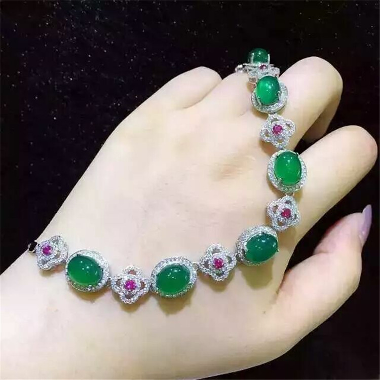 KJJEAXCMY fine jewelry S925 Pure silver inlay natural green jade medulla female style bracelet plant four-leaf grass ornaments pure natural plant moringa oleifera leaf extract powder 100g