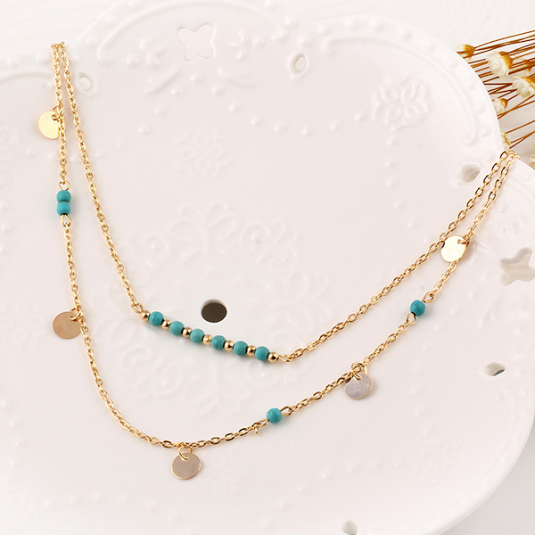 2017 Fashion Long Chain Maxi Necklaces Pendants Blue stone Fashion Jewelry Multi Layers Necklaces Gold Color for Women in Pendant Necklaces from Jewelry Accessories