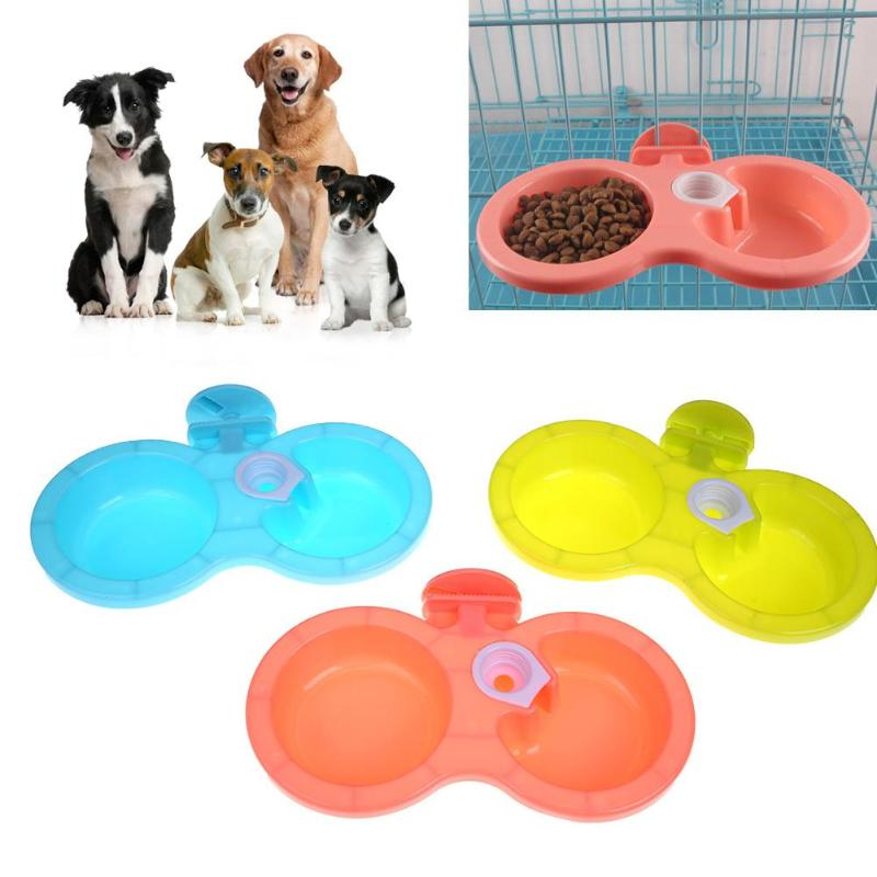 Plastic Dual Port Dog Feeder Bowl Automatic Cat Drinking Bowls Water Feeding Basin Dog Supplies Pet Food Dish Feeder Pet Product