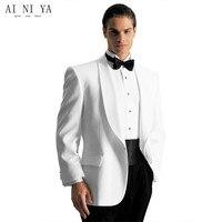 Personnalisé ivoire hommes smokings de mariage costumes pour hommes blanc entaillé col Châle hommes costumes slim fit costumes de mariage (veste + Pantalon