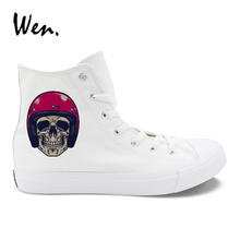 Wen White Casual Canvas Shoes Men Design Zombie Skull Wearing Motorcycle Racing Helmet High Top Boy's Sneakers Shoes Big Size 49