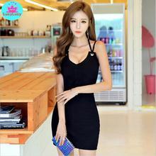 2019 summer new femininity black hanging neck straps tight sexy nightclub bag hip dress