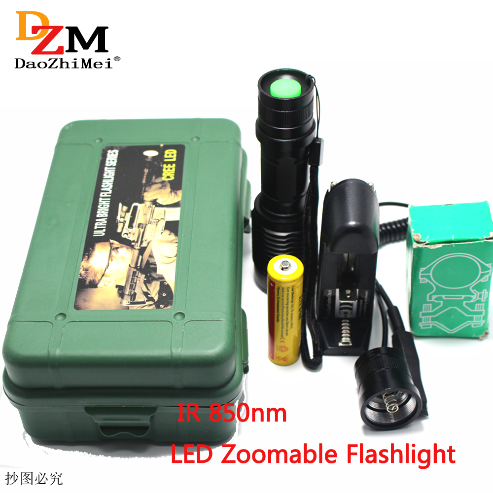 IR <font><b>850nm</b></font> Night Vision Zoomable IR Infrared Waterproof Shake-proof <font><b>LED</b></font> Flashlight with Zoom Telescope Functions Torch