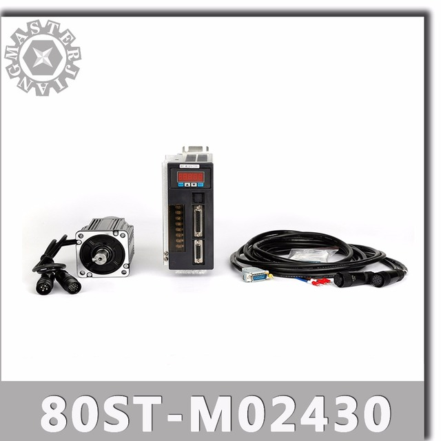 80ST M02430 220V 750W AC Servoมอเตอร์ 2.39N.M. 3000RPM 0.75KW servomotor Single Phase ACไดรฟ์แม่เหล็กถาวรที่จับคู่DRIVER