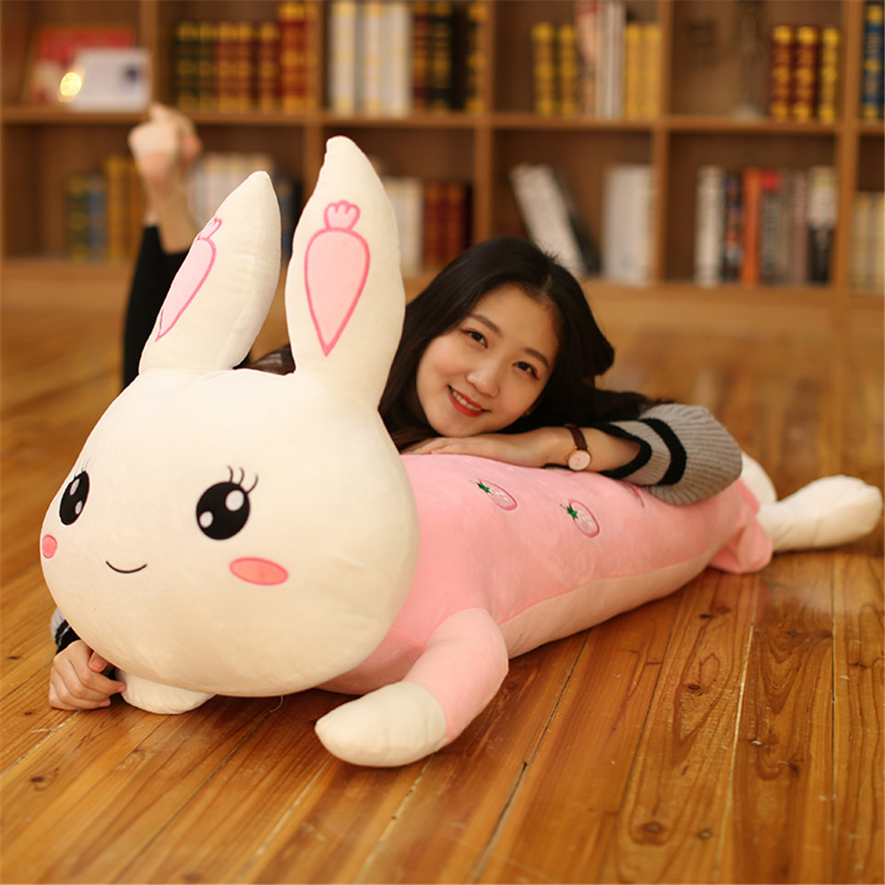Fancytrader  New Lovely Big Soft Cartoon Lying Bunny Plush Pillow Doll Stuffed Anime Rabbit Toy Gift for Girls 3 Sizes 3 Colors fancytrader lovely soft cartoon fox plush toy stuffed animal fox dog doll pillow creative decoration gift 47inch 120cm 3 colors