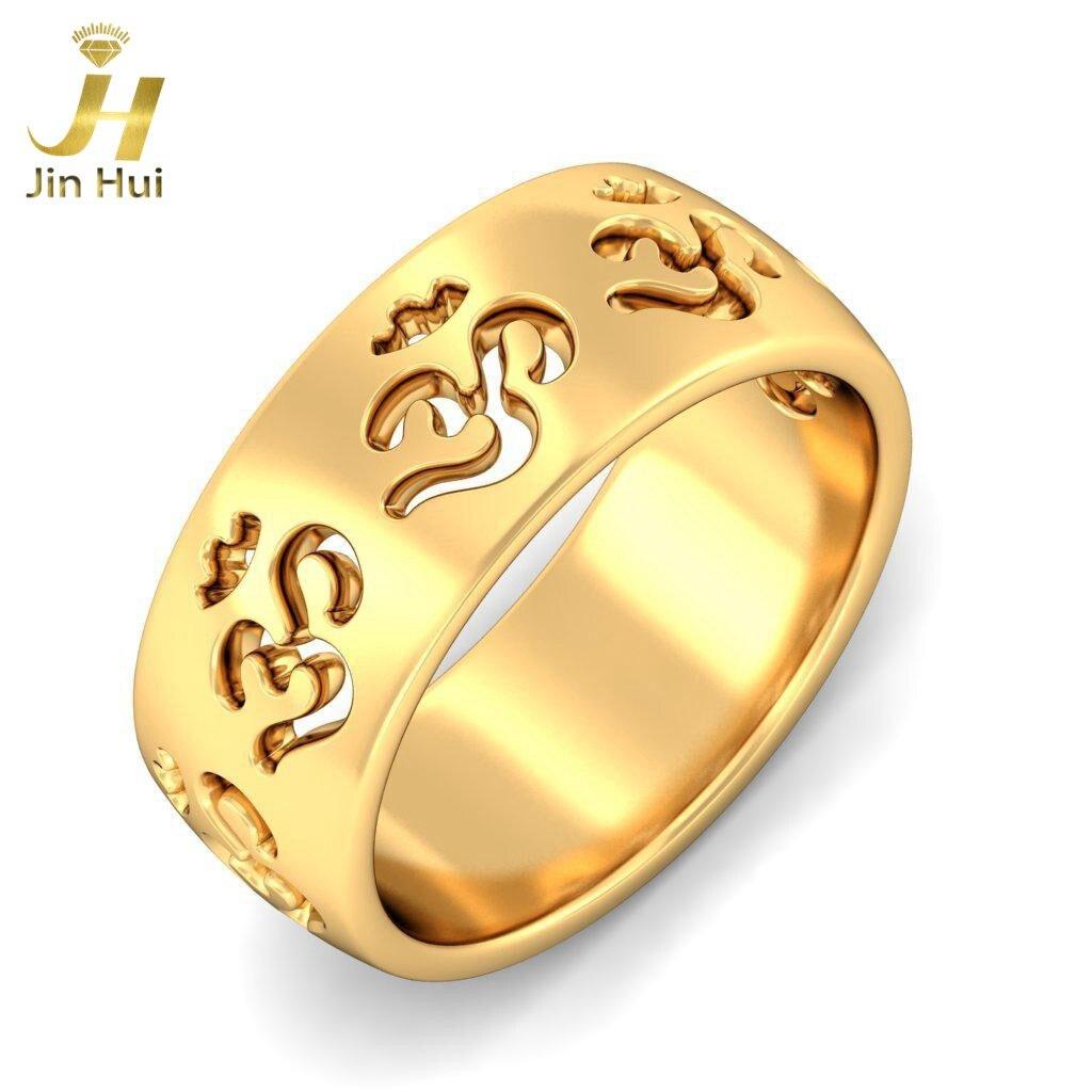 Men The Yashashvi Om Ring Solid Yellow Gold 9K Au375 With 18K ...