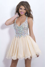 New Fashion Sexy Organza Crystals Mini Cocktail Party Dress Bridal Formal Prom Gown Free Shipping Custom Made