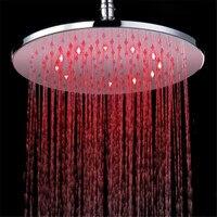 Stainless Steel 12 inch RGB LED Light Rain Shower Head Bathroom