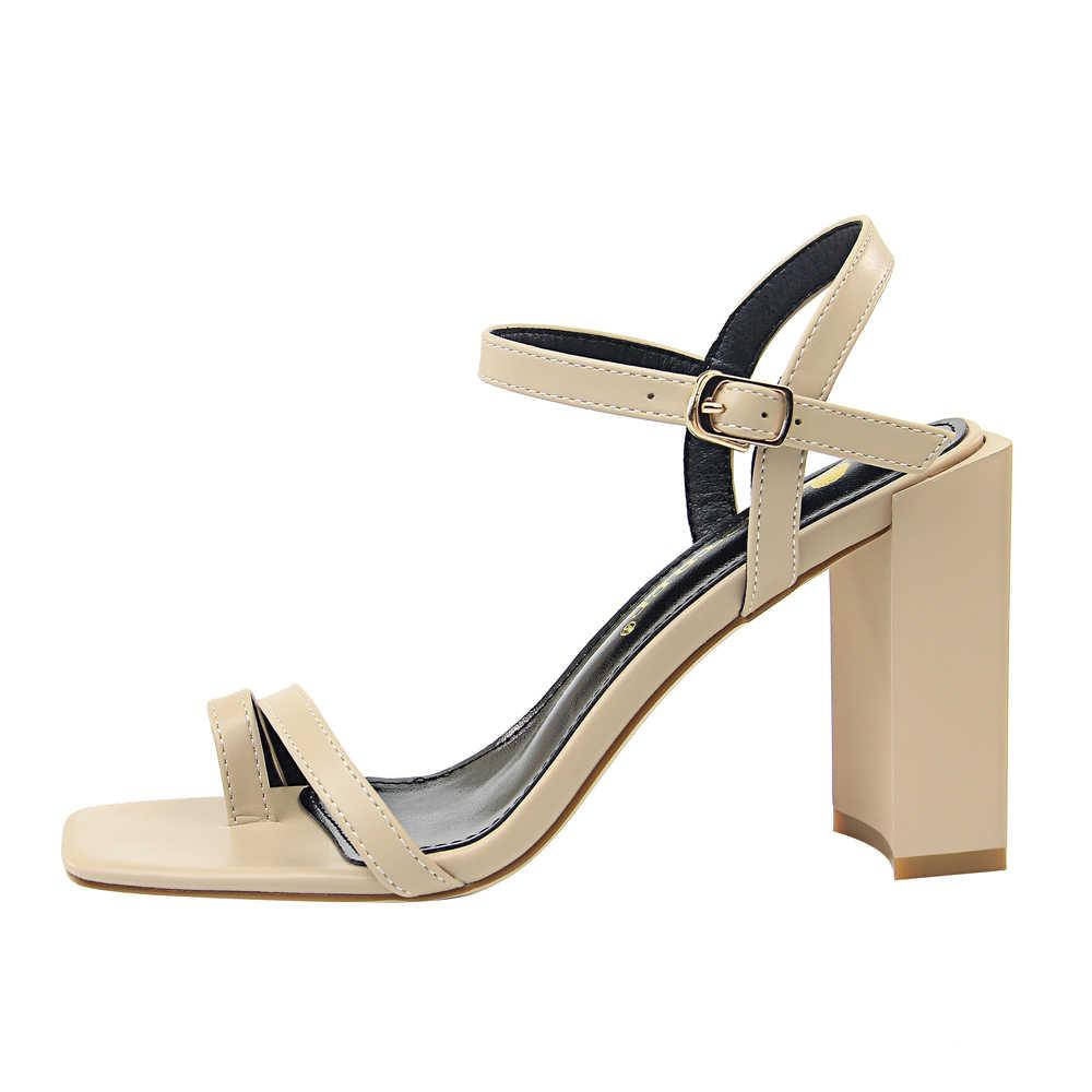4bcb93f2aa9 ... 2019 Elegant Women Designer Summer White High Heels Casual Block Heels  Sandals Lady Open Toe Female ...