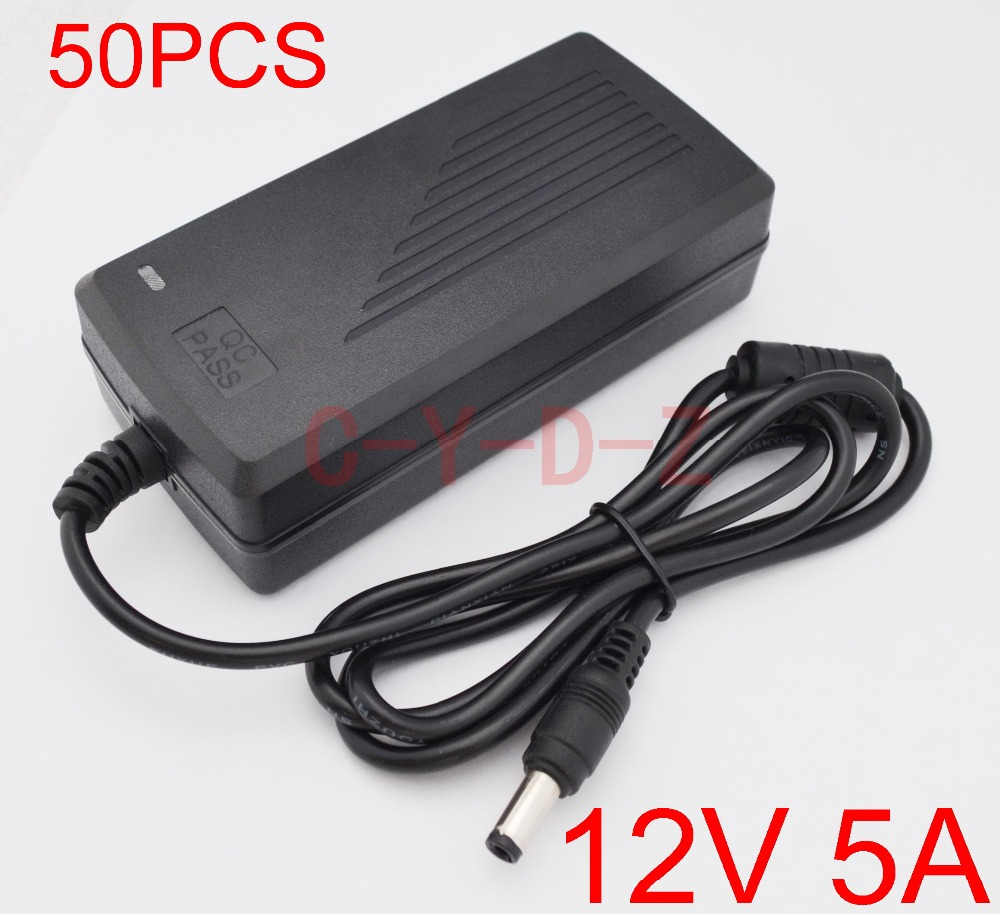 50pcs 12V5A AC 100V 240V Converter Adapter DC 12V 5A 60W Power Supply  DC 5.5mm x 2.5mm for 5050/3528 LED Light  LCD Monitor-in AC/DC Adapters from Home Improvement    1