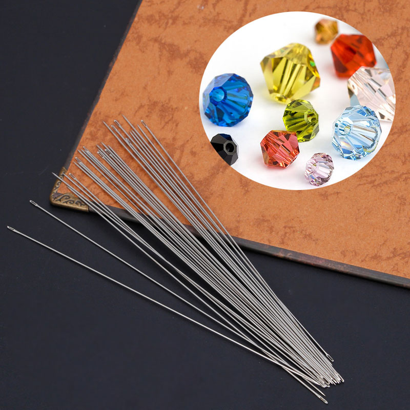 Arts Crafts Sewing DIY Craft Supplies 30 x Beading Needles Threading String Cord Jewelry Craft Making Tool 0.6 x 120mm