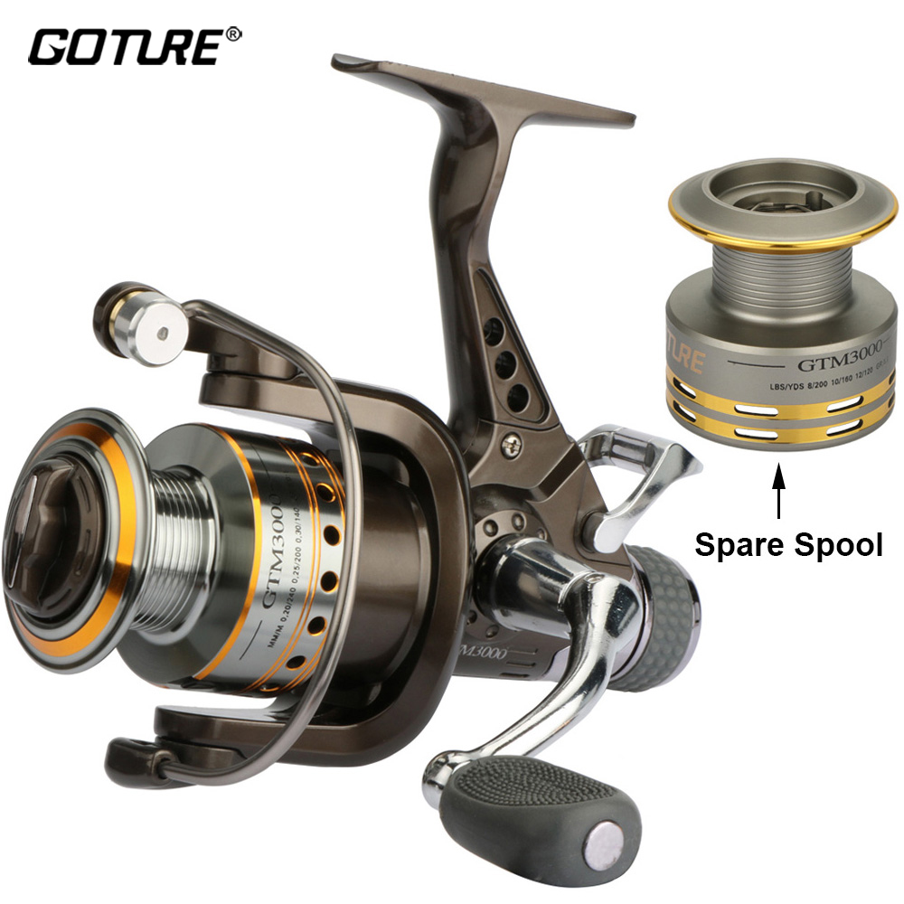 Goture Carp Fishing Reel Spinning Reel With Spare Spool 8BB 5.0:1 Dual Brake Fishing Wheel Coil Max Drag 6.5KG