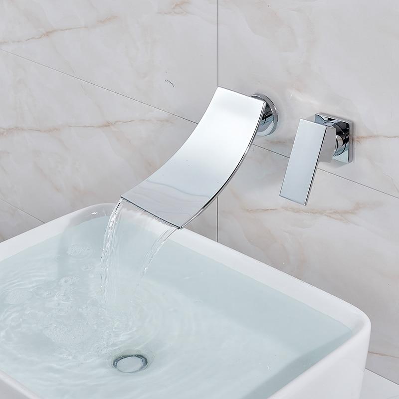 Image 2 - Jasna chromowana łazienka zlewowa typu Waterfall mikser kran pojedyncza dźwignia ścienna mycie krany do umywalek wodospad bateria łazienkowaBaterie umywalkowe   -