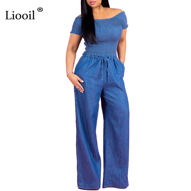 bdda920de64 Liooil Blue Denim Jumpsuits Wide Leg Off Shoulder Short Sleeve Strapless Lace  Up Party Sexy Rompers Womens Jumpsuits Overalls