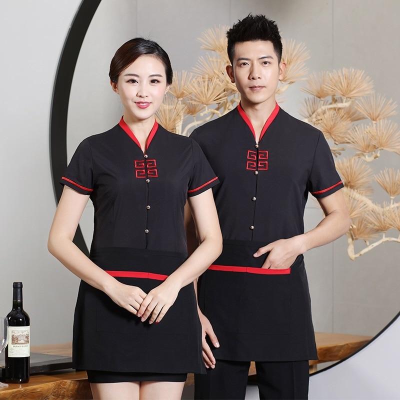 Hot Pot Hotel Restaurant Waiter Work Clothes Short Sleeve Fast Food Shop Uniform Breathable Chef Overalls Waitress Uniforms