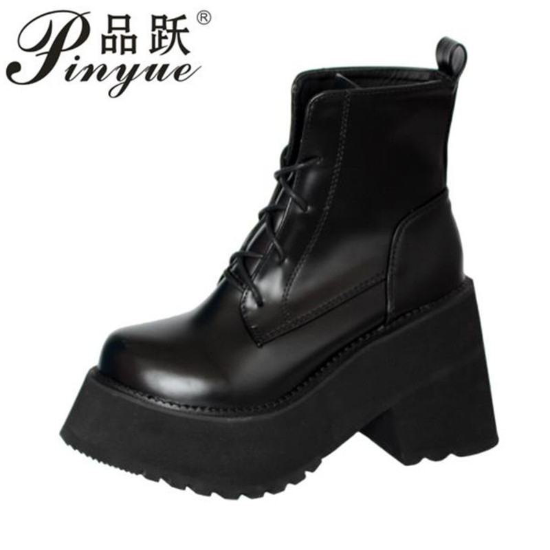 Women British Style Boots Lady Belt Buckle Ankle Boots Girl Zipper Platform Ankle Motorcycle Boots Shoes