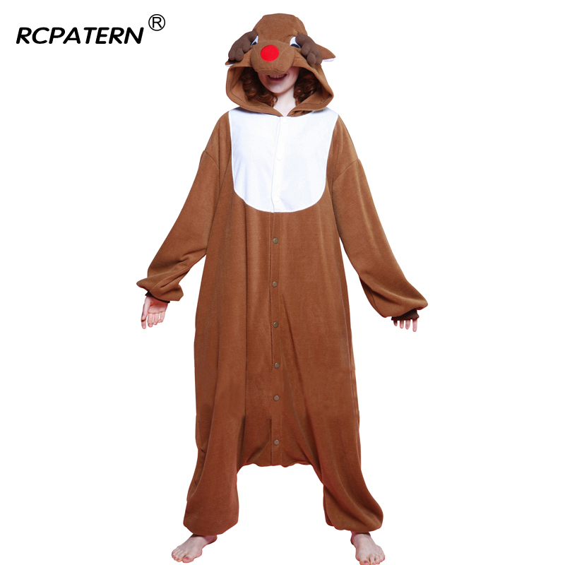 Christmas Reindeer Costumes Onesies Full Flannel Hooded Pajama sets for women Animals pattern adult Winter