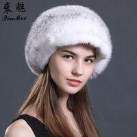 Natural Fur Hat For Women Peaked Caps Ladies Beret Hats Peaky Blinders Women'S Winter Hats Warm Female Solid Real Mink Fur Hats