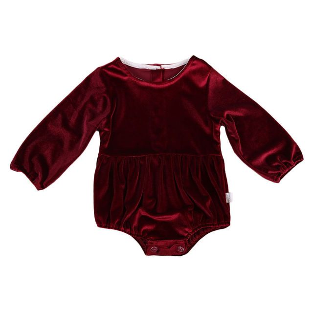 258ebd77e5a HOT Fashion Newborn Baby One-pieces Infant Baby Girls Velvet Romper Solid  Dark Red Long Sleeve Jumpsuit Cute Baby Girl Outfits