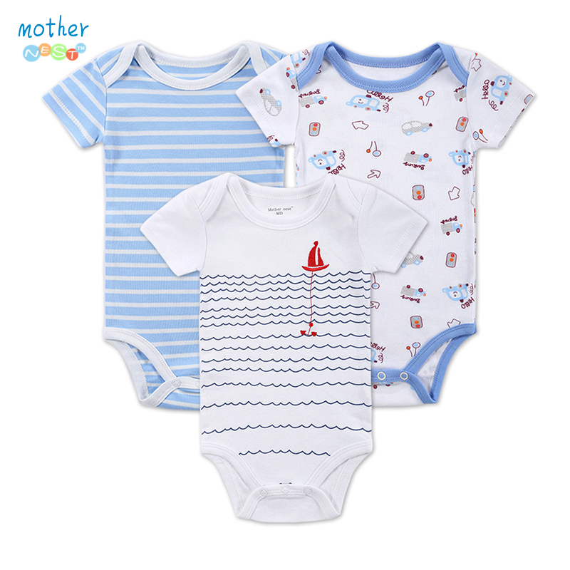 3 Pieces/Lot New Baby Rompers Newborn Striped Fashion Summer Baby Fille Boys Short Sleeve Baby Toddler Jumpers Infant Clothing