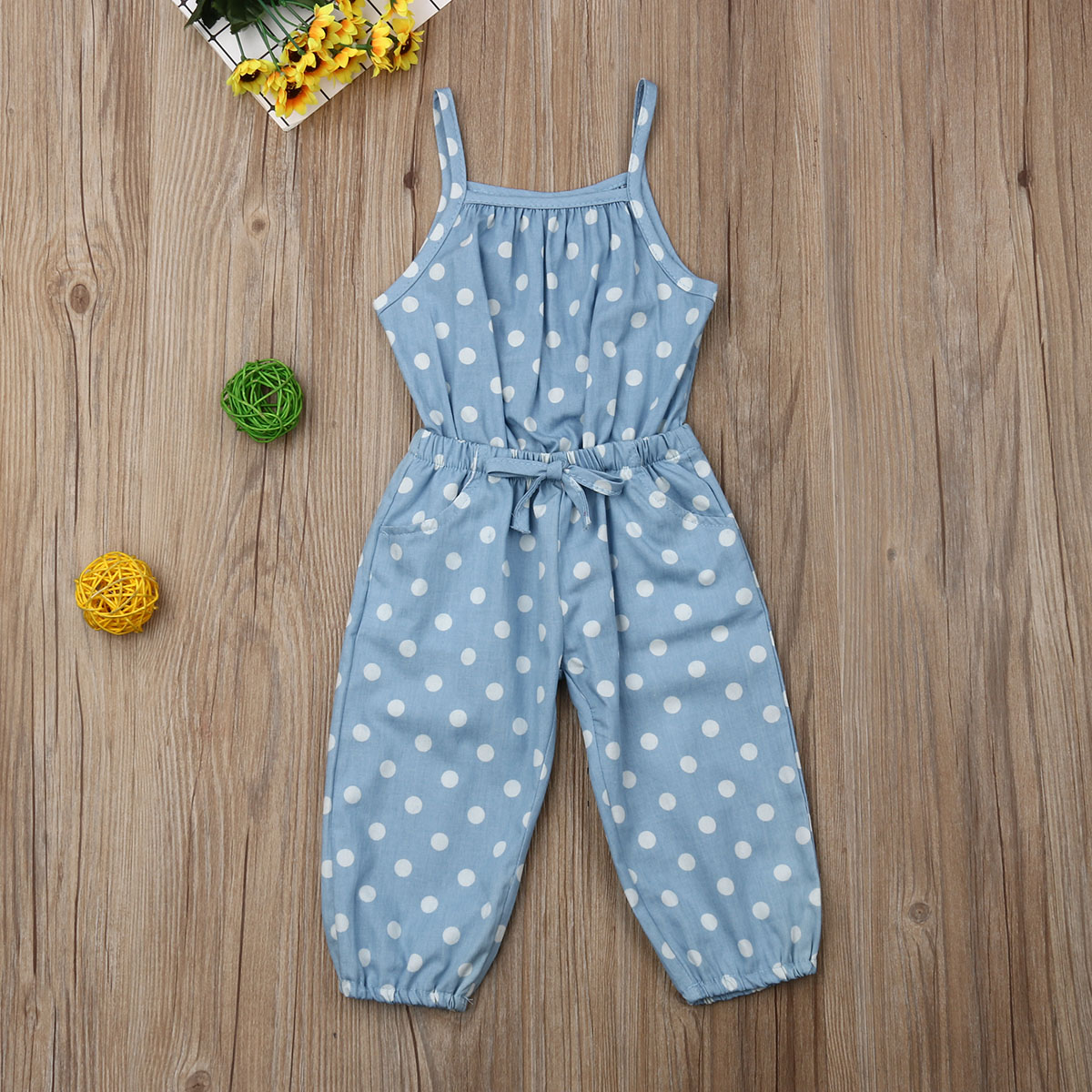 Pudcoco Summer Toddler Baby Girl Clothes Polka Dot Print Sling Romper Jumpsuit One-Piece Outfit Sunsuit Playsuit Clothes Summer