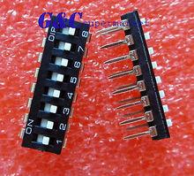 10PCS Black 2.54mm Pitch 8-Bit 8 Positions Ways Slide Type DIP Switch   стоимость