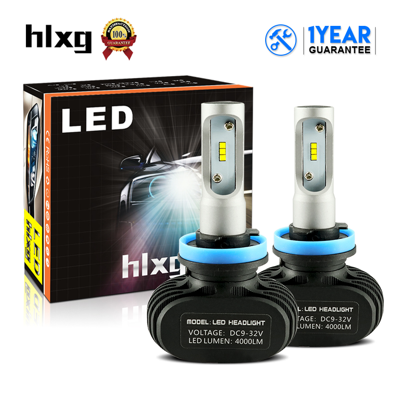 HLXG CSP Chips H8 H9 H11 LED Car Headlight Kits 50W 8000LM 6000K Automobile Fog Lamp Daytime Running Light All In One Fanless
