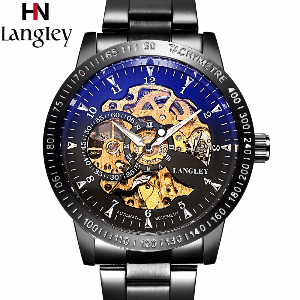 LANGLEY Men's Top Luxury Brand Watch Automatic Mechanical Wristwatch Stainless Steel Skeleton Fashion Male Watches Gift Box langley new modern dragon watches men automatic mechanical watch male skeleton golden wristwatch luxury brand stainless steel