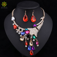 2017 Fashion Women Wedding Necklaces Earrings Sets Vintage Rhinestone Crystal Choker Necklaces Pendants Jewelry Sets