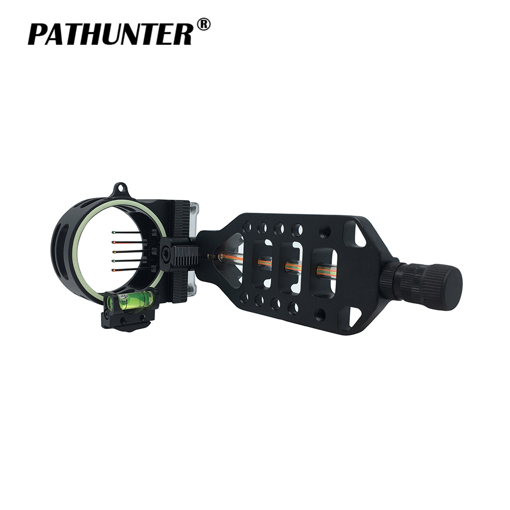 PATHUNTER Five 0.019 High Quality Fiber Optic Pins Compound Bow Sight With LED Archery Accessories For Hunting