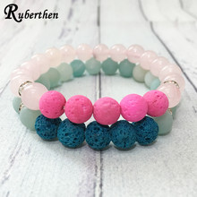 Ruberthen Hot Sale A Grade Amazonite Bracelet Rose Quart z Pink Lava Stone Bracelet High Qaulity Women`s/Men`s Yinyang Bracelet(China)