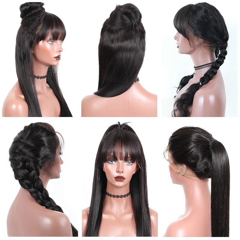 perruque cheveux humains avec frange 130% densité