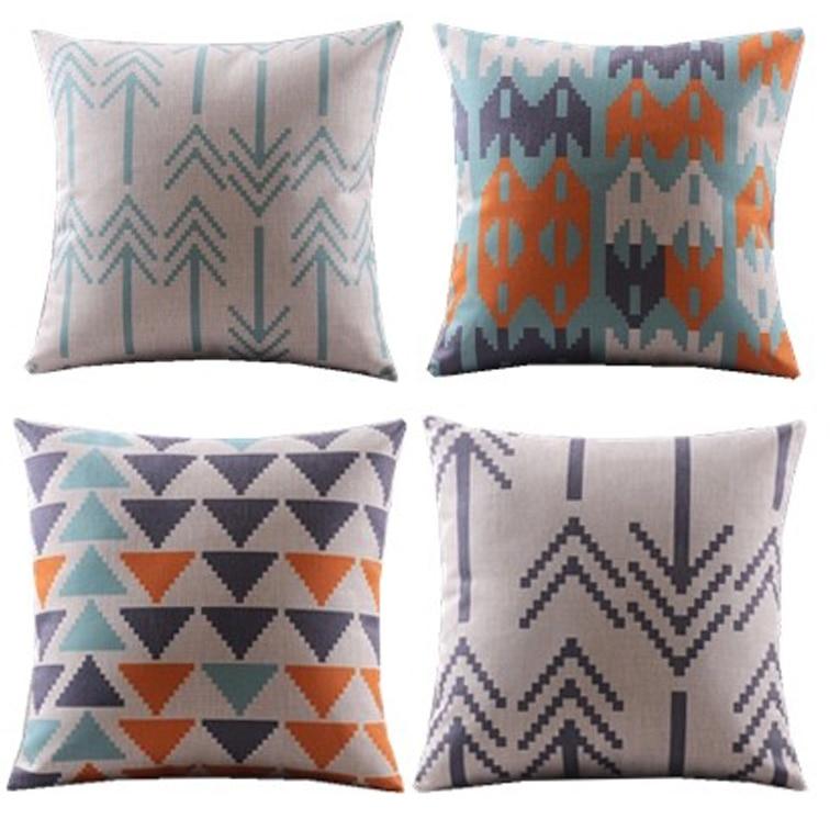 4st / Ny design / blå orange / trianglar chevron zigzag dekorativa - Hemtextil