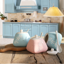 3PCS/set Creative ceramic condiment pot Nordic style kitchen bottle storage tank Storage box Condiment