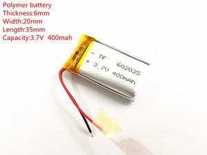 Image 1 - (10 teile/los) 3,7 V 602035 400 mah lithium ionen polymer batterie qualität waren qualität von CE FCC ROHS zertifizierung behörde