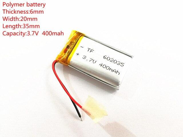 (10 teile/los) 3,7 V 602035 400 mah lithium ionen polymer batterie qualität waren qualität von CE FCC ROHS zertifizierung behörde