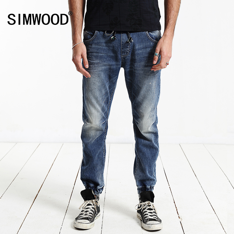 Jeans Men 2017 New Arrival SIMWOOD Brand Clothing Blue Slim Fit Elastic Waist Casual Denim Pants Plus Size Free Shipping SJ6017 2017jeans men new arrival brand clothing blue slim fit casual stretch denim pants high quality plus size free shipping