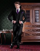 Handsome One Button Black Groom Tuxedos Groomsmen Men's Wedding Prom Suits Bridegroom (Jacket+Pants+Vest+Tie) K:800