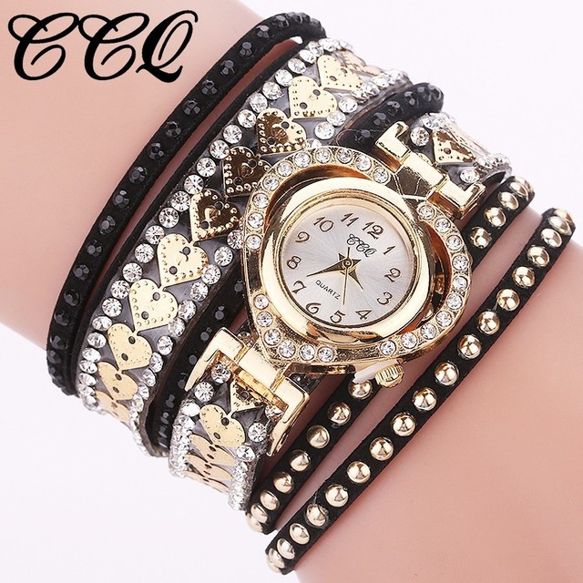 CCQ Brand Fashion Luxury Women Rhinestone Bracelet Watch Ladies Quartz Watch Cas