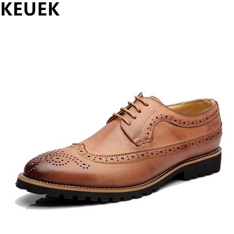 British style Men Brogue Shoes Lace-Up Pointed Toe Office Dress shoes Luxury Casual leather shoes Male Flats Oxfords 02C qffaz new 2018 luxury leather brogue mens flats shoes casual british style men oxfords fashion brand dress shoes for men lace up