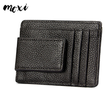 moxi genuine leather card holder anti theft brush card pocket rfid dollar ticket folder natural cowhide card wallet trendy
