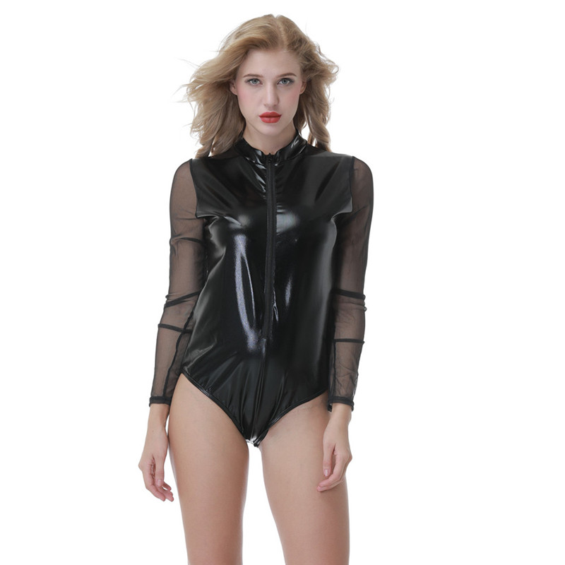 Zipper Latex Wetlook Catsuit Gothic Faux Leather Bodysuit Cat Women Fetish PVC Teddy Erotic Clubwear Costume Plus Size