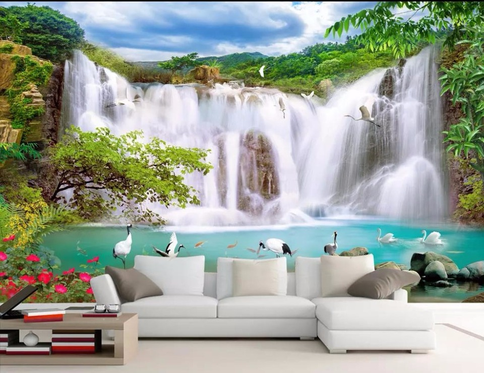 Modern Wallpaper Waterfall landscape Wallpaper For Living Room HD nature landscape 3D Wallpaper Painting Papel