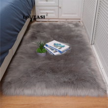 LOUTASI Wool Hairy Carpets Soft Sheepskin Plain Fur Skin Fluffy Bedroom Faux Mats Washable Artificial Textile Area Square Rugs