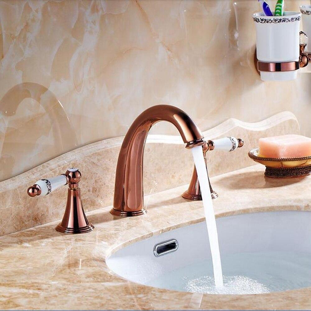 Rose Gold Dual Ceramic Handles Bathroom Basin Faucet Waterfall Sink ...