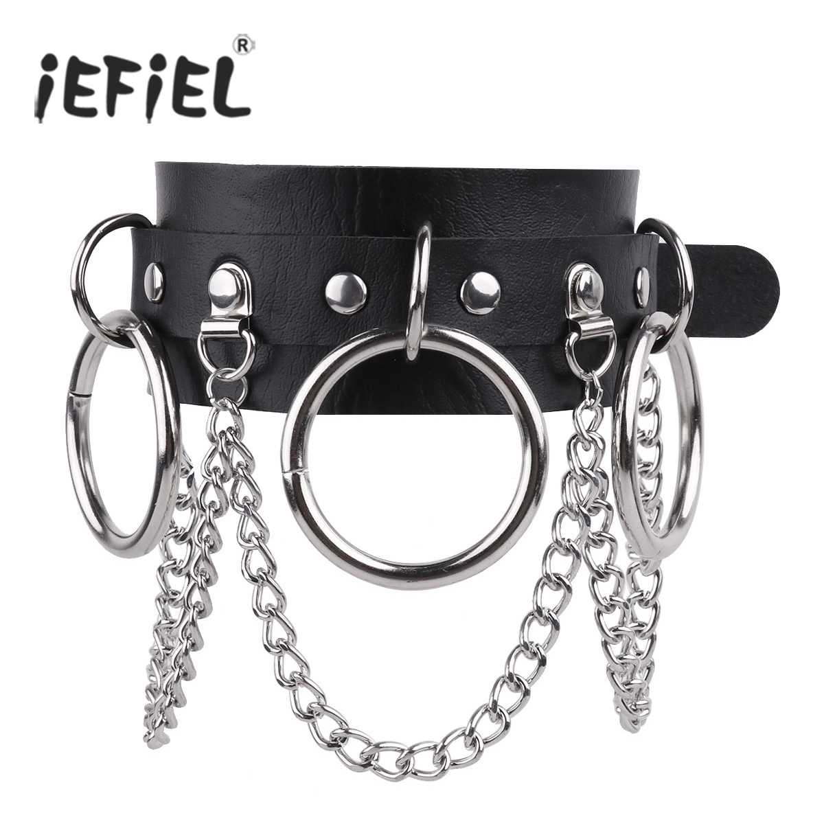 Unisex Punk Flexible PU Leather Adjustable Choker Necklace Neck Collar with Metal O-Rings and Chains for Nighclub Costumes